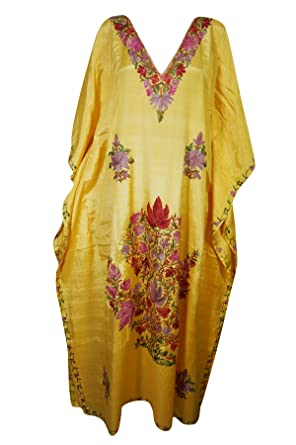 bba8afb16e0 Women Kimono Kaftan Yellow Embroidered Maxi Caftan Dress One Size:  Amazon.co.uk: Clothing
