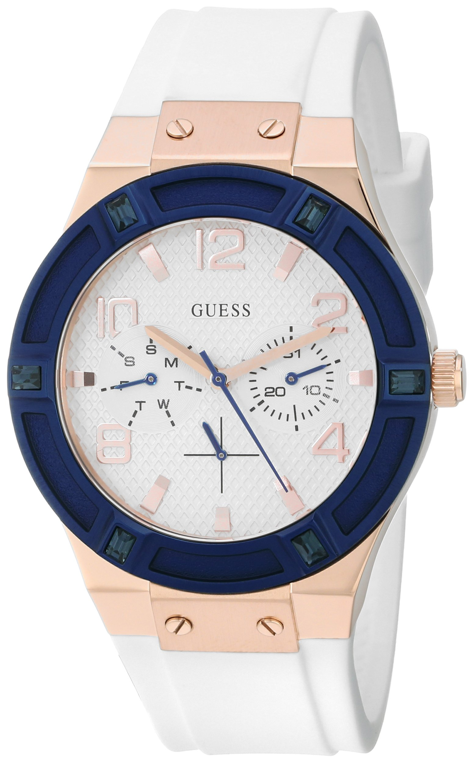 Guess Women's U0564L1 Comfortable Multi-Function Watch With White Silicone Band 6