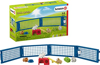Amazon Com Schleich Farm World Rabbit And Guinea Pig Hutch 14 Piece Educational Playset For Kids Ages 3 8 Toys Games