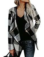 WLLW Women Open Front Plaid Cardigan Drape Coat Wool Blends Coat Outerwear Wrap