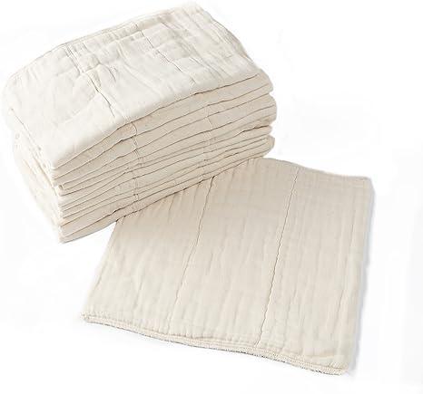 Pañales de tela predoblados, paquete de 12, algodón premium sin blanquear, prelavados, para bebés recién nacidos (10-30 libras), multiusos: Amazon.es: Bebé