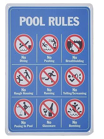 Amazon.com: Monifith - Señal de reglas de piscina, sin ...