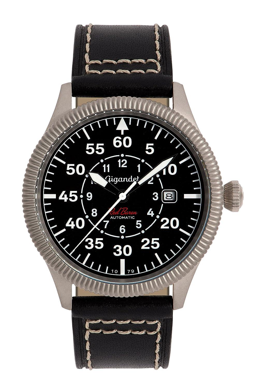 Gigandet Automatik Herren-Armbanduhr Red Baron I Fliegeruhr Uhr Datum Analog Lederarmband Schwarz G8-005