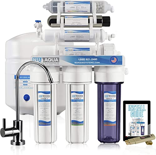 NU Aqua Platinum Series High Capacity 100GPD 7-Stage UV and Alkaline Reverse Osmosis Ultraviolet Sterilization Drinking Water Filter System – Free PPM Meter and Installation DVD