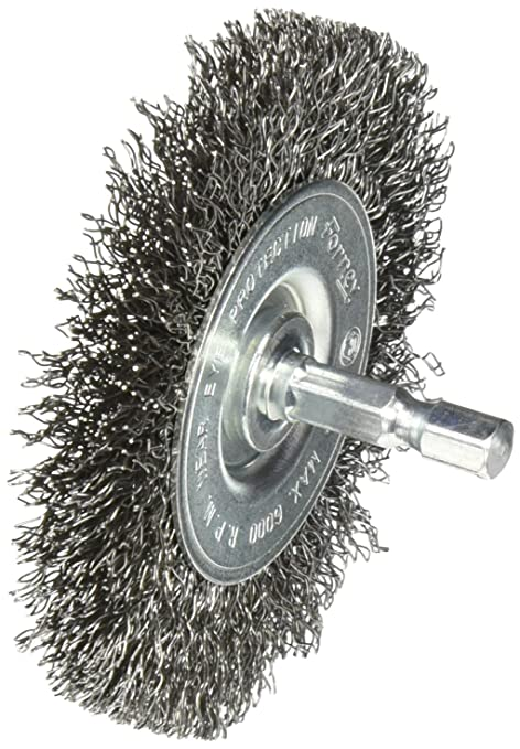 Fine Crimped with 1//4-Inch Hex Shank 4-Inch-by-. Forney 72740 Wire Wheel Brush