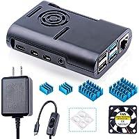 Miuzei Case for Raspberry Pi 4, Raspberry Pi Case with Cooling Fan, Pi 4 case with 5V 3A Power Supply, 4 pcs Heatsinks for Raspberry Pi 4 Model b / 4b - Black
