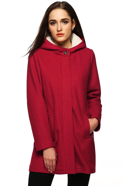 Zeagoo レディース ファッションフェイクファーラペル二列ボタン式厚めウールトレンチコートジャケット B017RBX5JM L|ワインレッド ワインレッド L