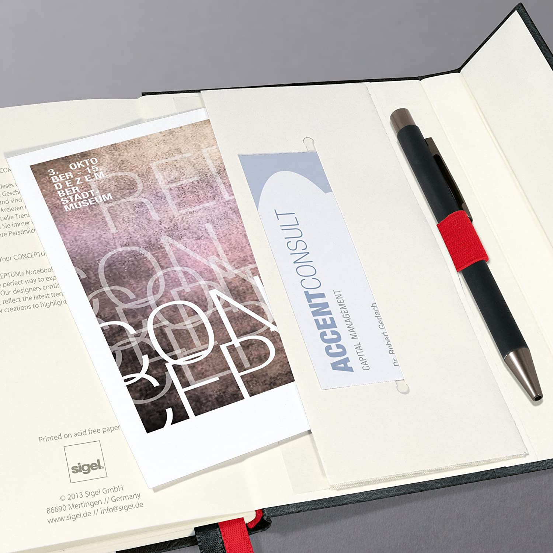 SIGEL CO608 Carnet de notes couverture rigide fermeture magn/étique A4 20,7 x 28 cm petits carreaux env gris fonc/é Conceptum