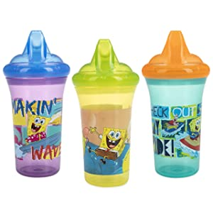 Nuby 3Piece No Spill Easy Sippy Cups with Dual Flo Valve Hard Spout, 9 Oz, Nickelodeon Spongebob Squarepants