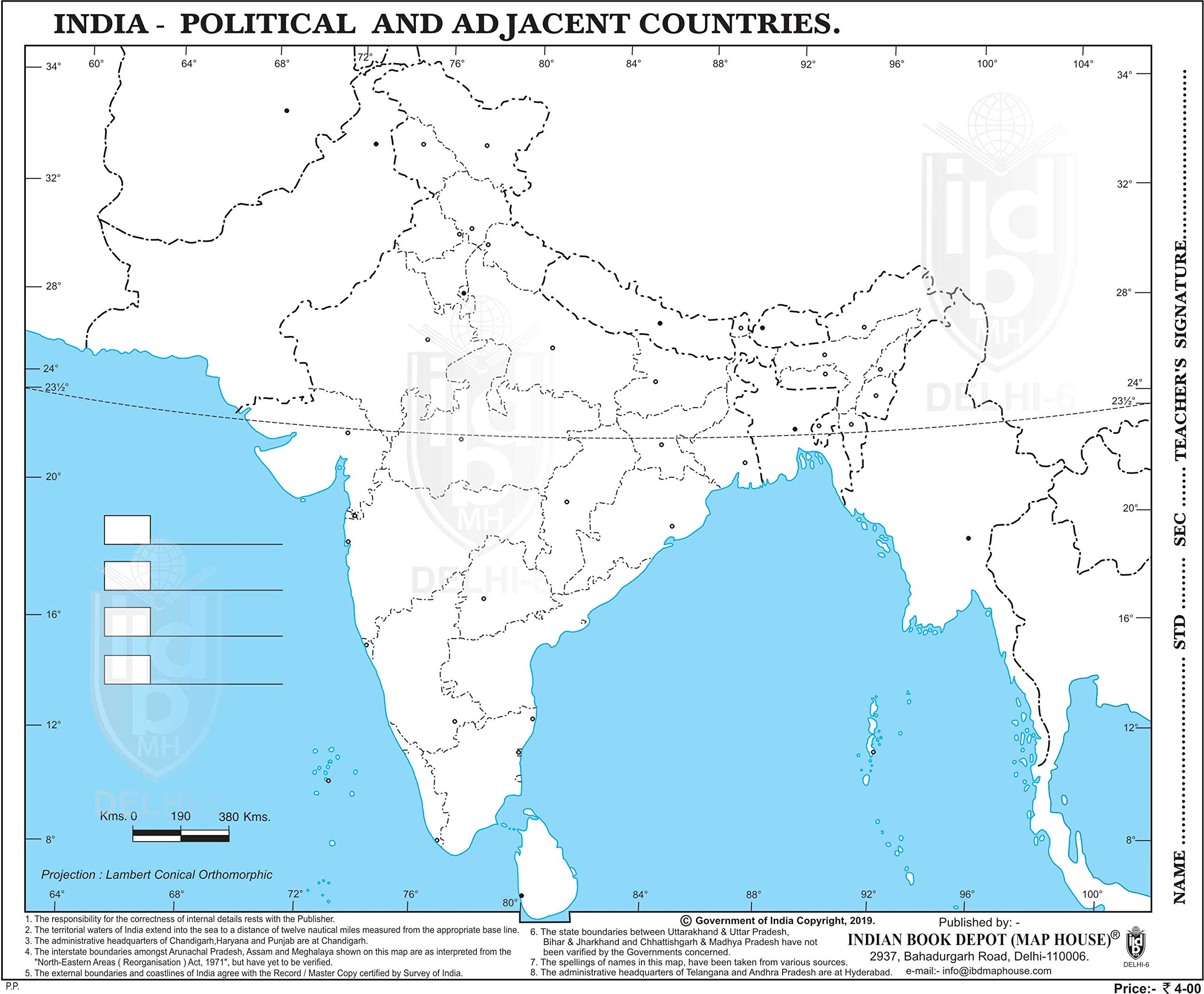 blank india political map for practice Buy India Practice Map Big Size With New Jammu Kashmir And blank india political map for practice