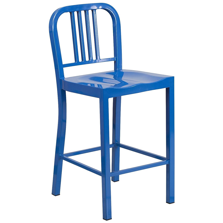 Amazon.com: Flash Furniture 24u0027u0027 High Blue Metal Indoor Outdoor Counter  Height Stool: Kitchen U0026 Dining