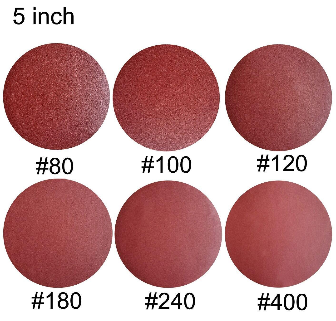 SACKORANGE 60 PCS 5-Inch NO-Hole PSA Aluminum Oxide Sanding Disc, Self Stick(10 Each of 80 100 120 180 240 400)