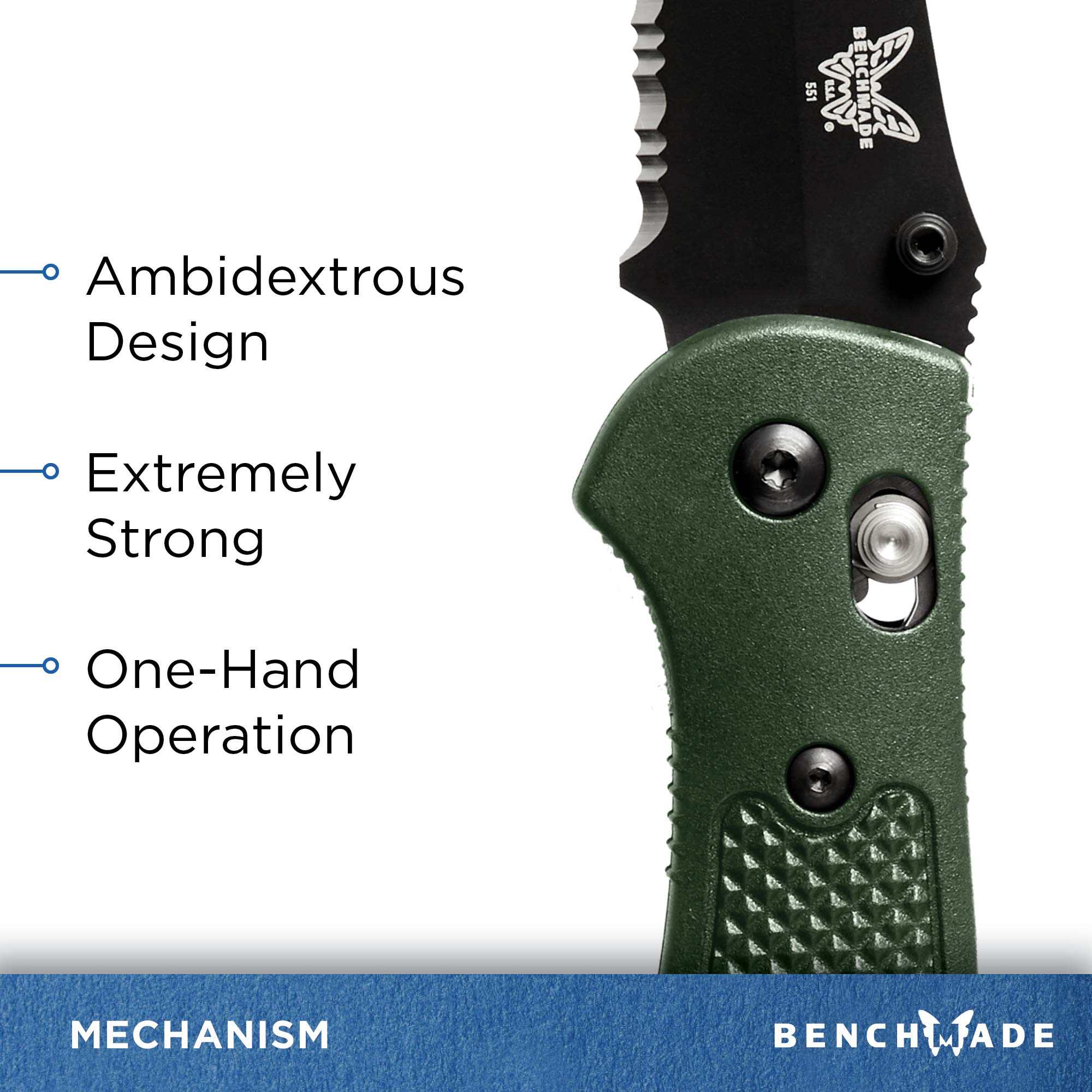 Benchmade - Griptilian 551 Knife with CPM-S30V Steel, Drop-Point Blade, Serrated Edge, Coated Finish, Olive Handle by Benchmade (Image #5)