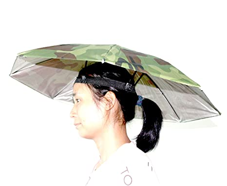 3390e37c83d Amazon.com  Fishing Umbrella Hat Folding Sun Rain Cap Adjustable Outdoor  Headwear Multifunction Foldable Camping Multicolor Hands Free with Head  Strap  ...