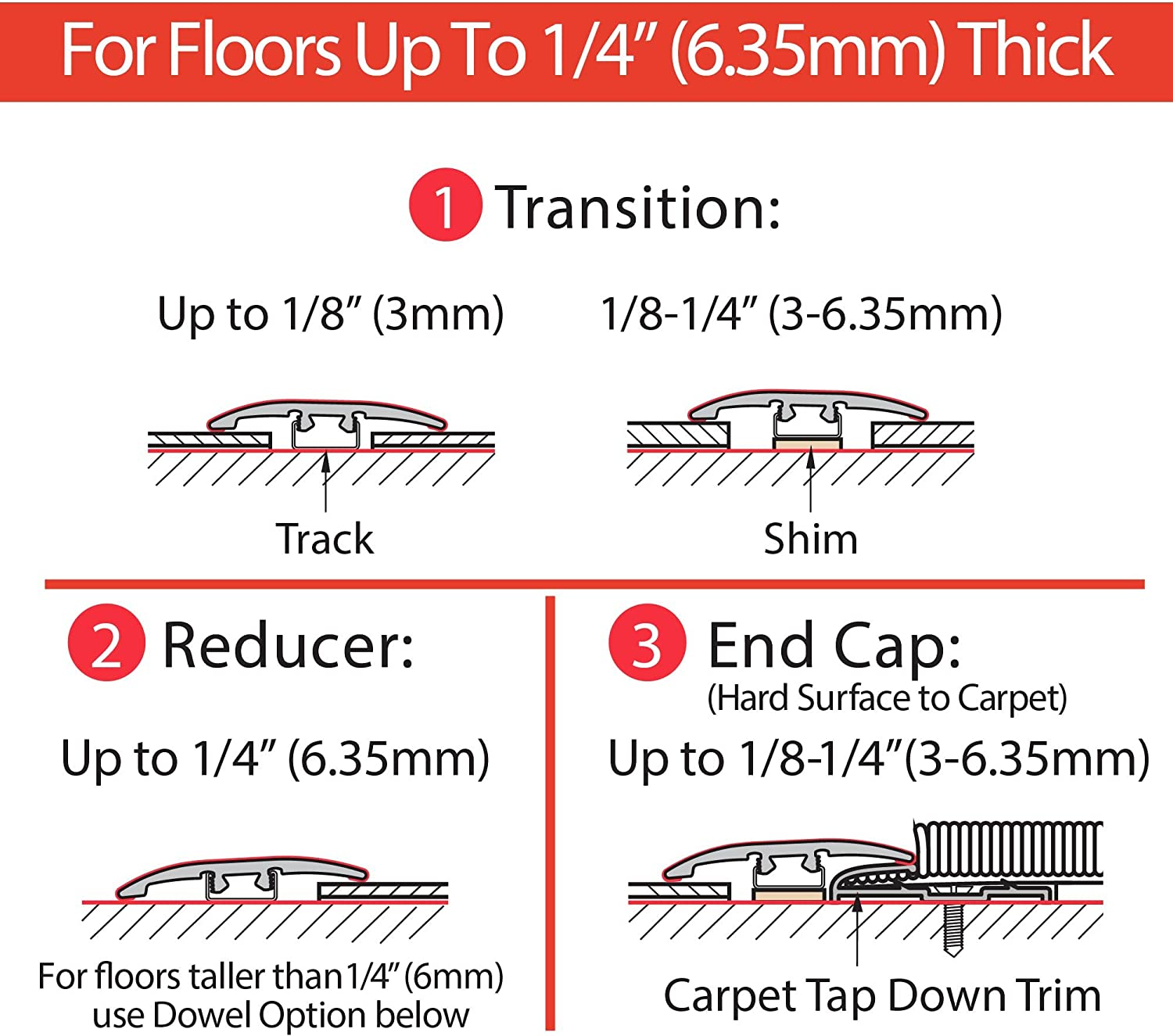 Polar Gray 3 Pack 3 Each CalFlor MD10073 UniTrim Waterproof 3-in1 Floor Molding