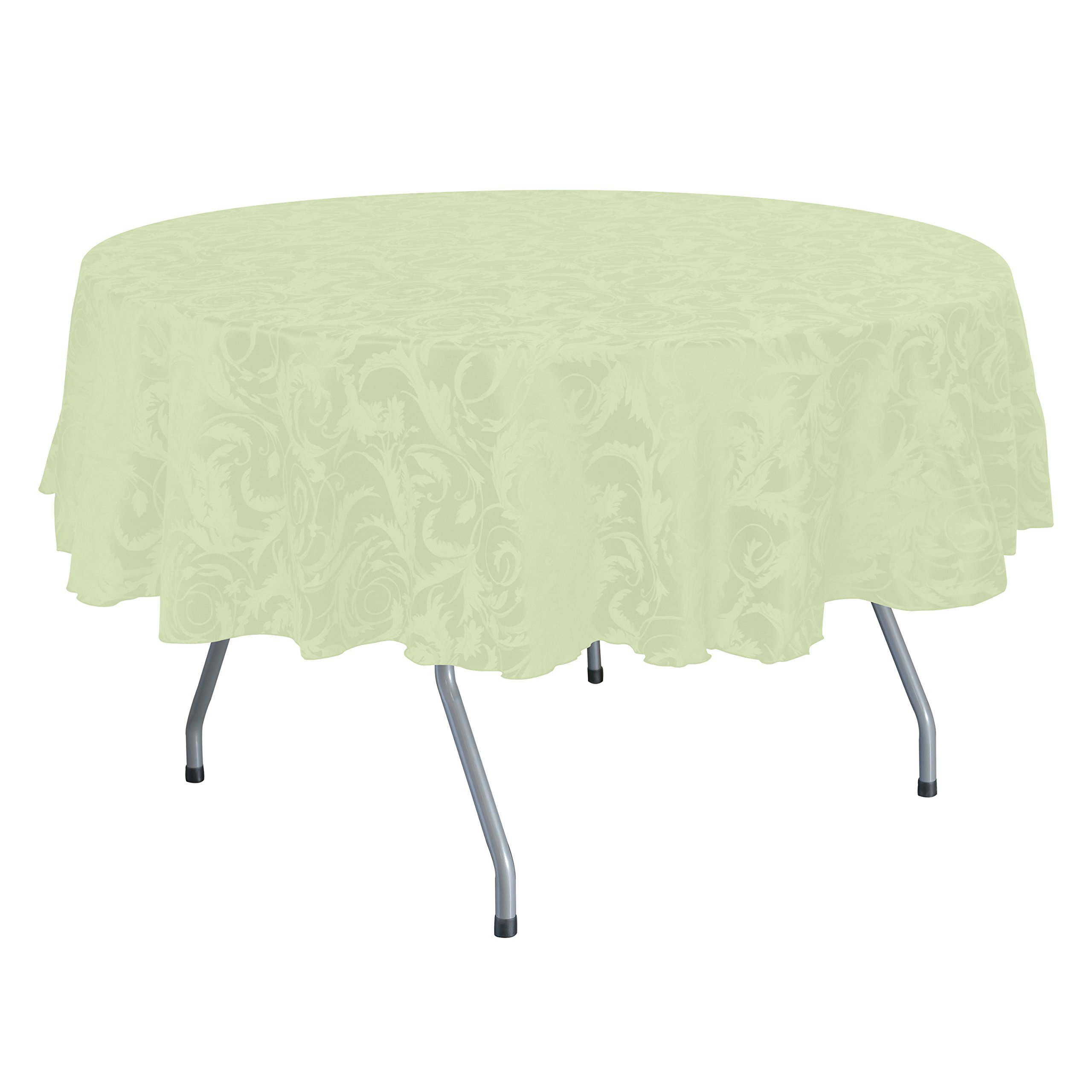 Ultimate Textile (5 Pack) Damask Melrose 72 x 120 Inch Oval Tablecloth - Home Dining Collection - Floral Leaf Scroll Jacquard Design, Ivory
