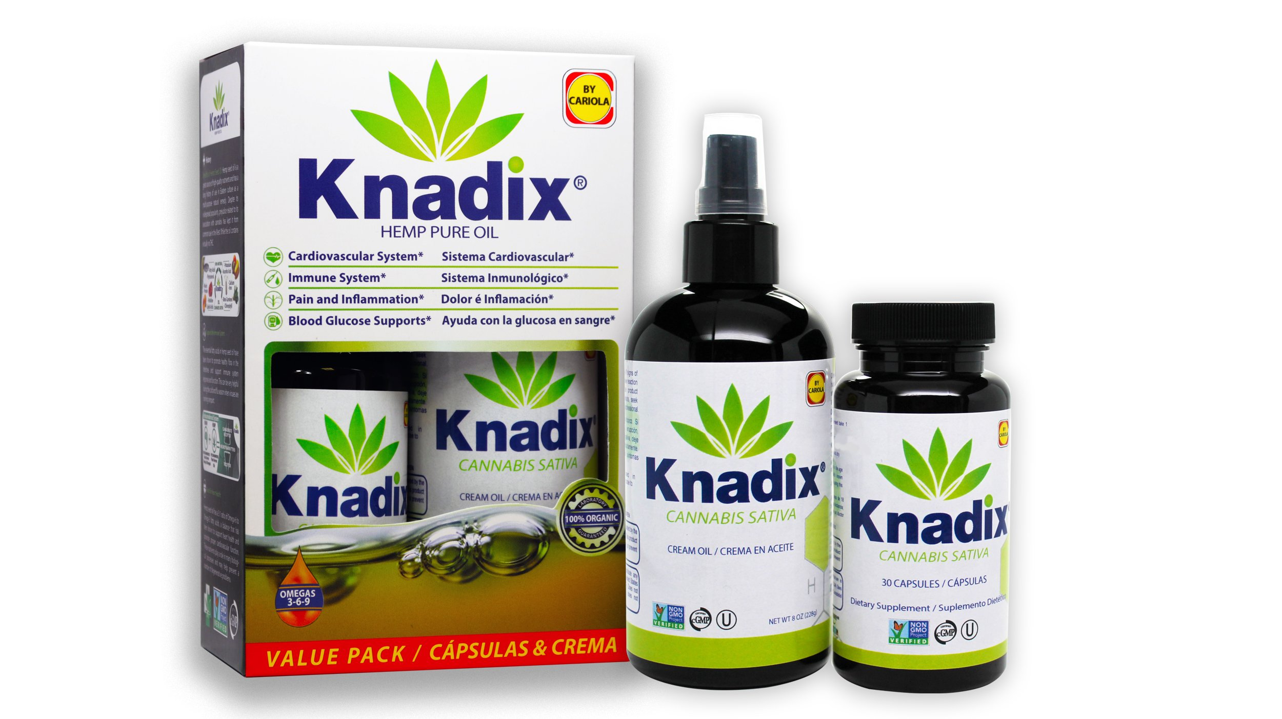 Knadix Natural -Value Pack- (Hemp Oil Cream & Bottle of 30 capsules)