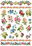 Renkalik 1 Blatt Motiv-Strohseide Gartenblumen ca. 45x32cm reißfest Frühling Papier kleben Decoupage Stärke 25g/qm