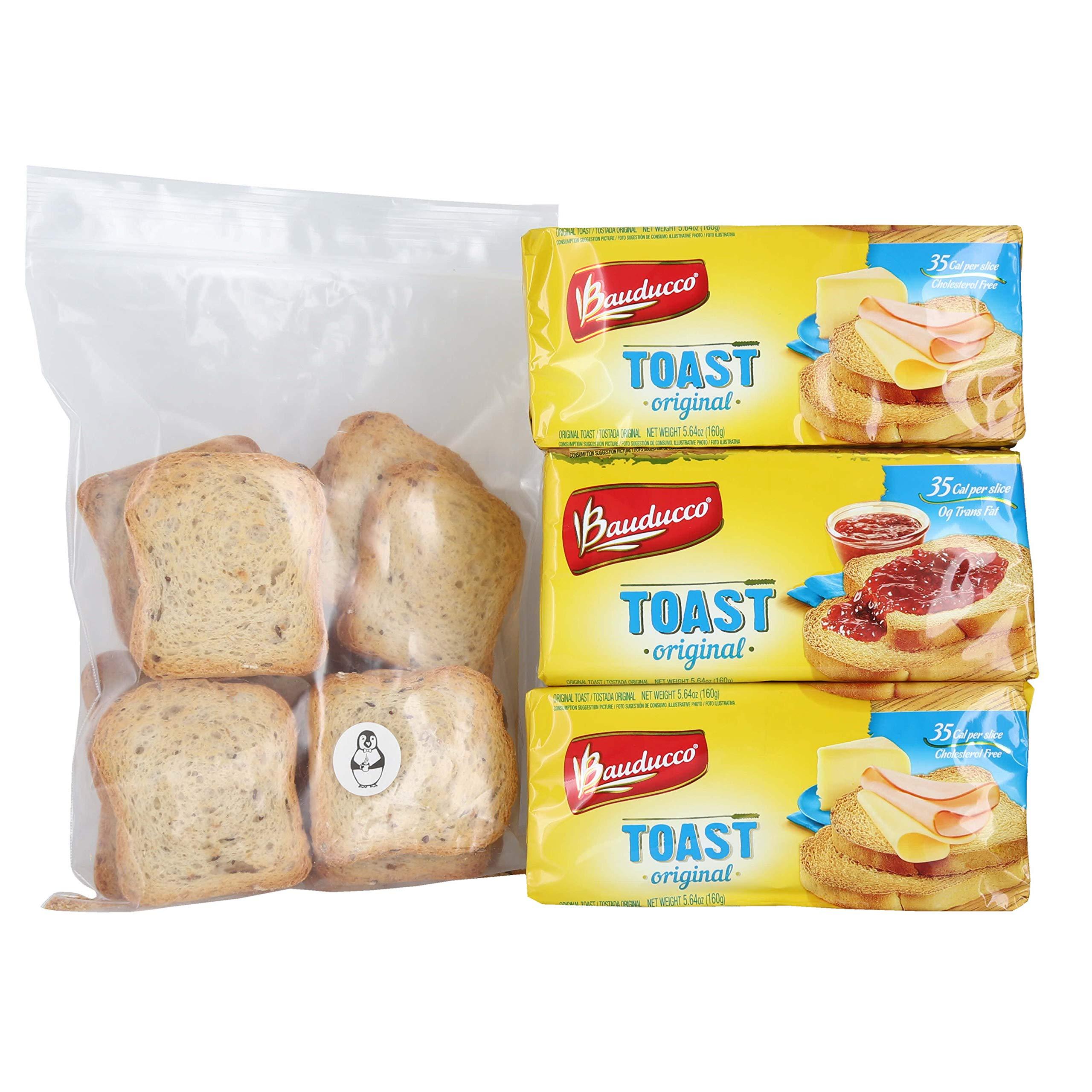 Bauducco Original Toast - (3 Pack) W/ Premium Penguin Quick Storage Pouch by Bauducco