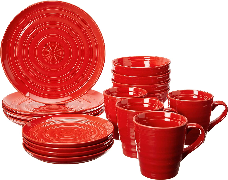 overandback Circo 16pc Dinnerware Set, Service for 4, Red