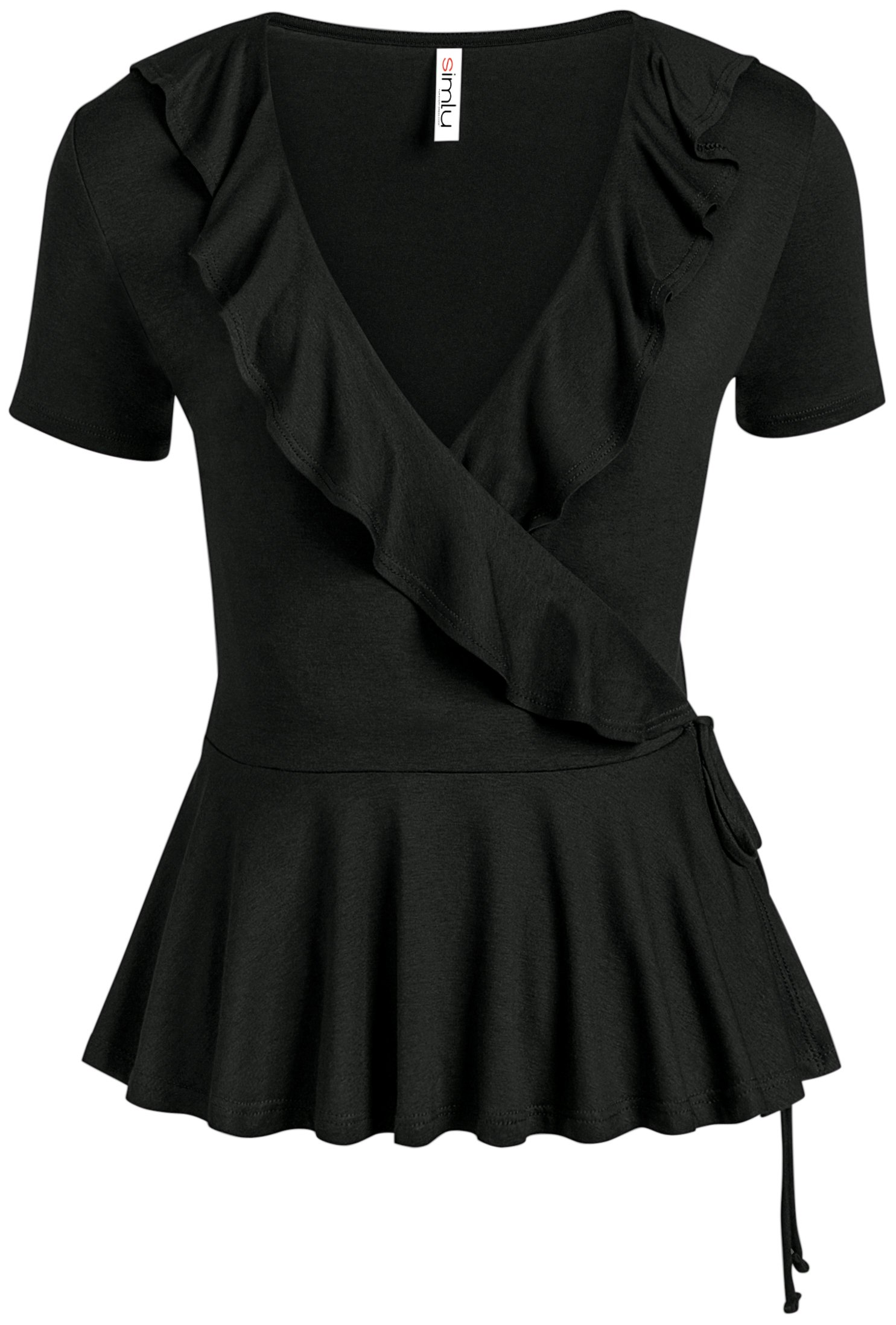 Simlu Womens Black Wrap Top Short Sleeve Deep V Neck Self Tie Black Peplum Shirt, Medium