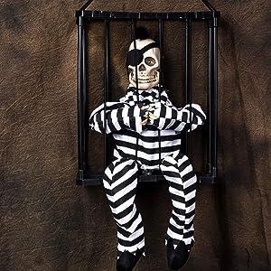 Skeleton Prisoner in Hanging Cage Animated Halloween Prop