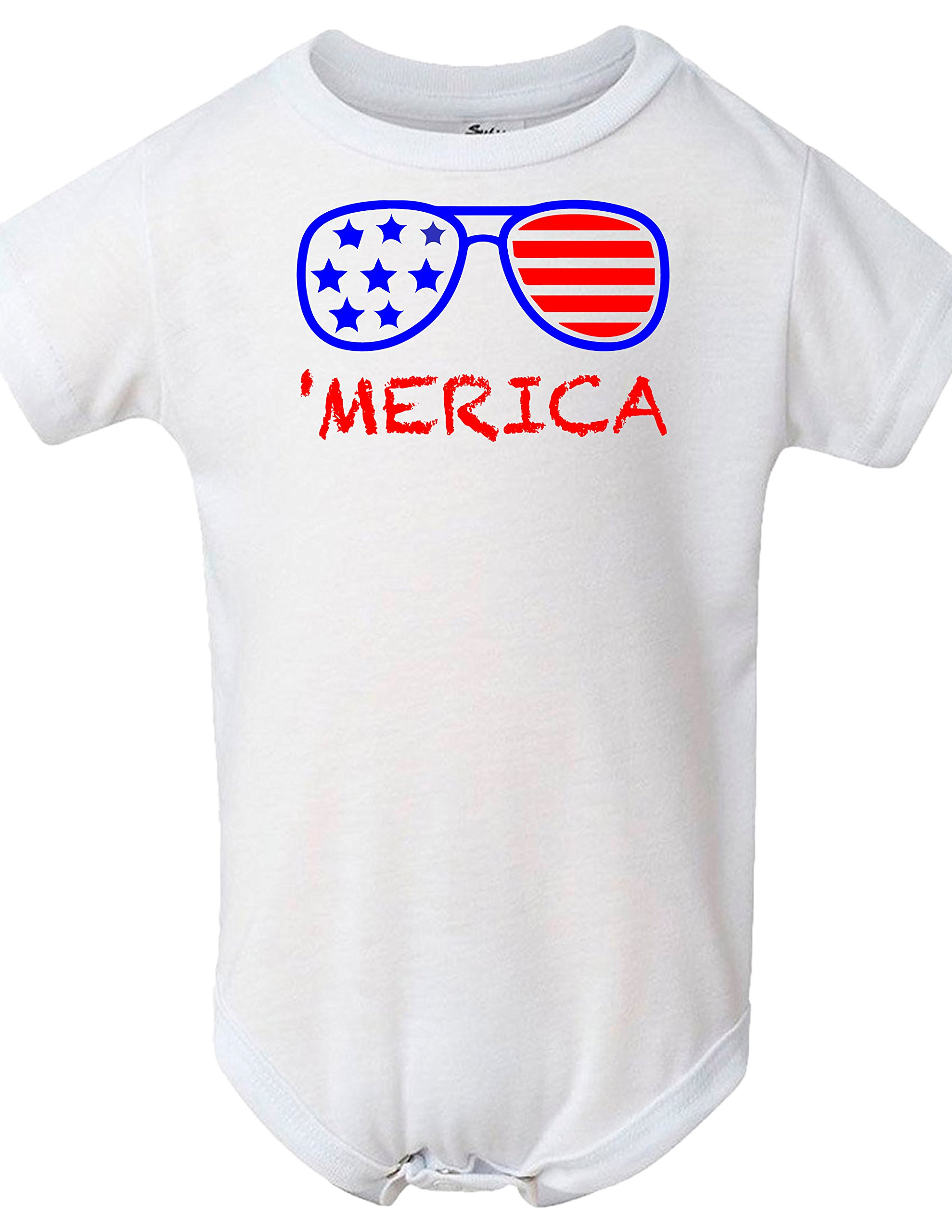 BLAKENREAG America Sunglasses Patriotic 4th of July Funny Baby Bodysuit Baby Boy Girl Clothes (6 Months)
