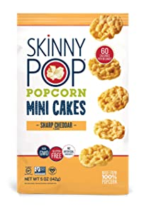 SkinnyPop Mini Popcorn Cakes, Sharp Cheddar, 5 Ounce