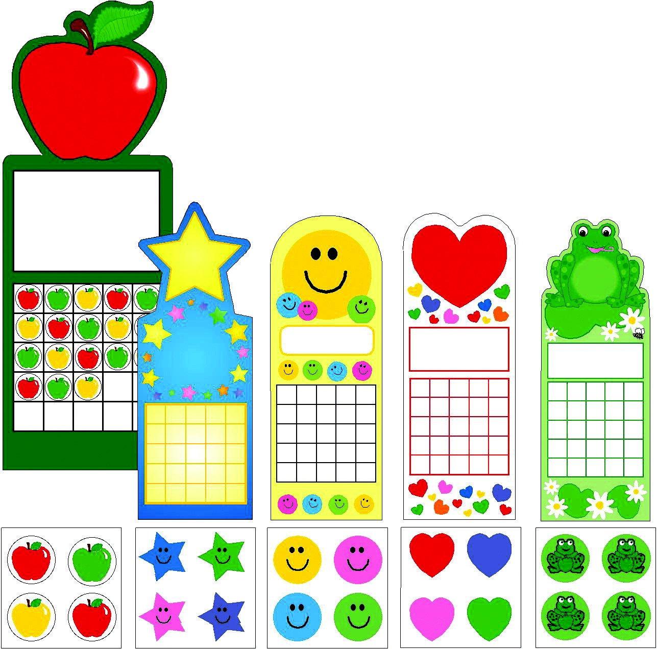 Creative Shapes Etc LLC SE-4000 5 Seasonal Designs Personal Chart and Sticker Set, 2-3/4'' x 7-1/2'' Size by Creative Shapes Etc LLC