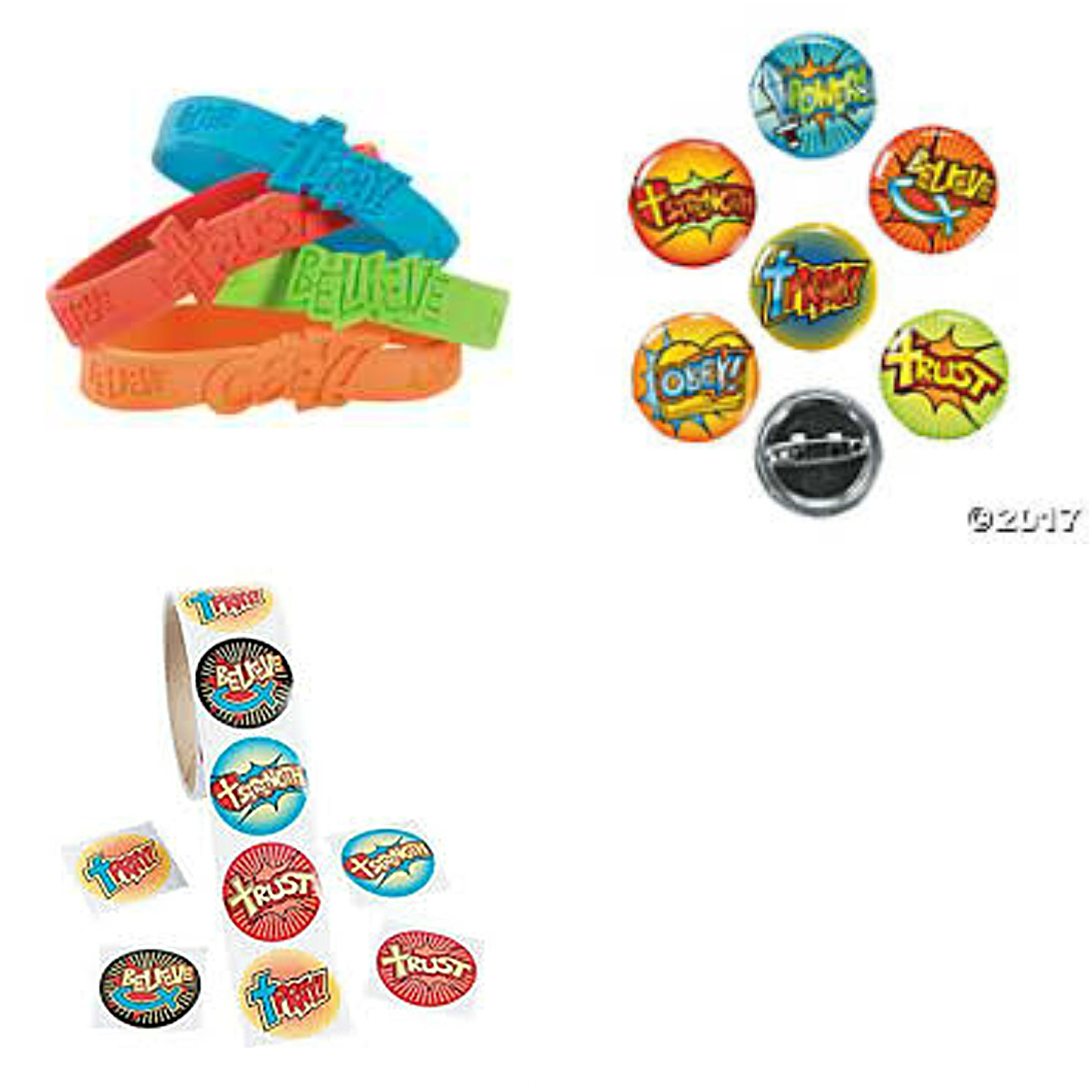 VBS Religious Christian 24 Rubber Bracelets 48 Mini Buttons Roll of 100 Stickers
