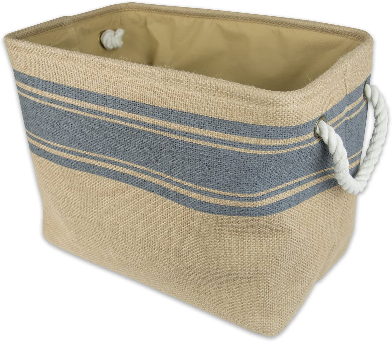 """DII Collapsible Burlap Storage Basket or Bin with Durable Cotton Handles, Home Organizational Solution for Office, Bedroom, Closet, Toys, & Laundry (Medium - 16x10x12""""), Grey Border"""