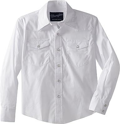 Wrangler Boys Long Sleeve Dress Western Solid Snap Shirt - XX-Small - White: Amazon.es: Ropa y accesorios