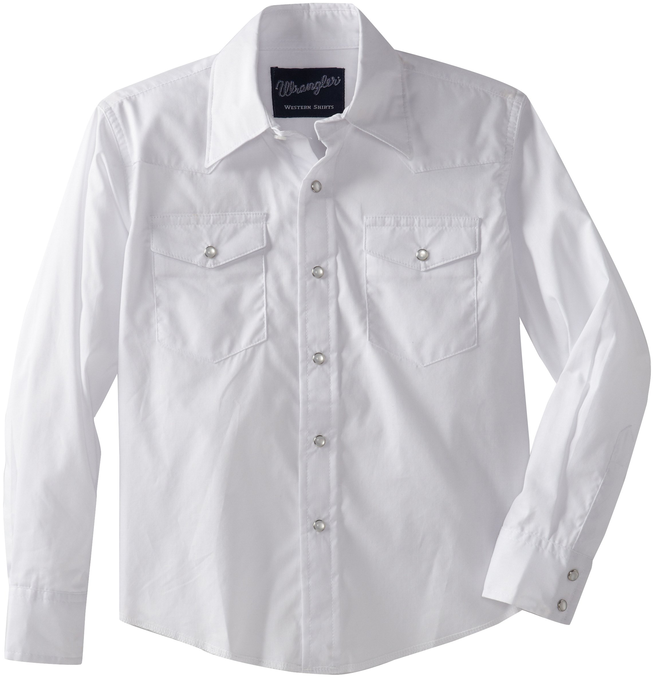 Wrangler Boys' Long Sleeve Dress Western Solid Snap Shirt - X-Small - White