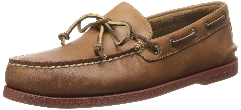 Eye Leather Boat Shoe, Dark Tan