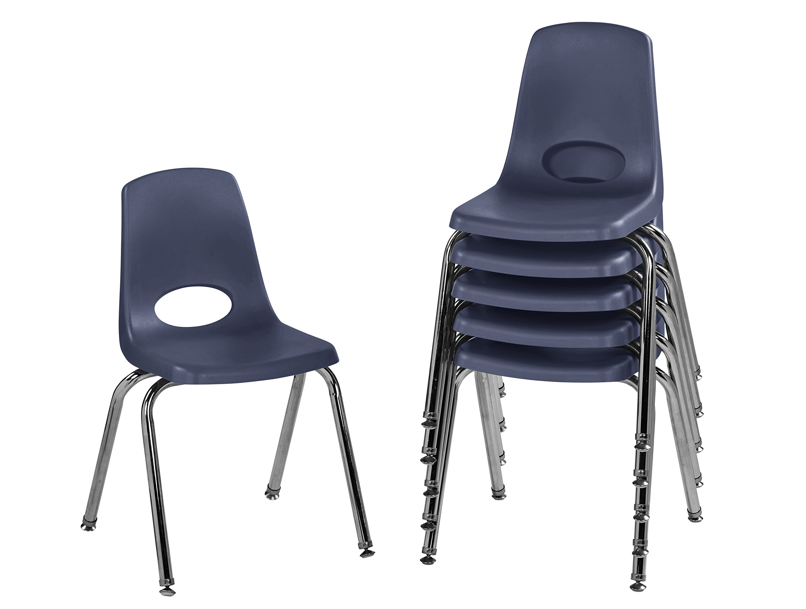 ECR4Kids 16'' School Stack Chair, Chrome Legs with Nylon Swivel Glides, Navy (6-Pack)