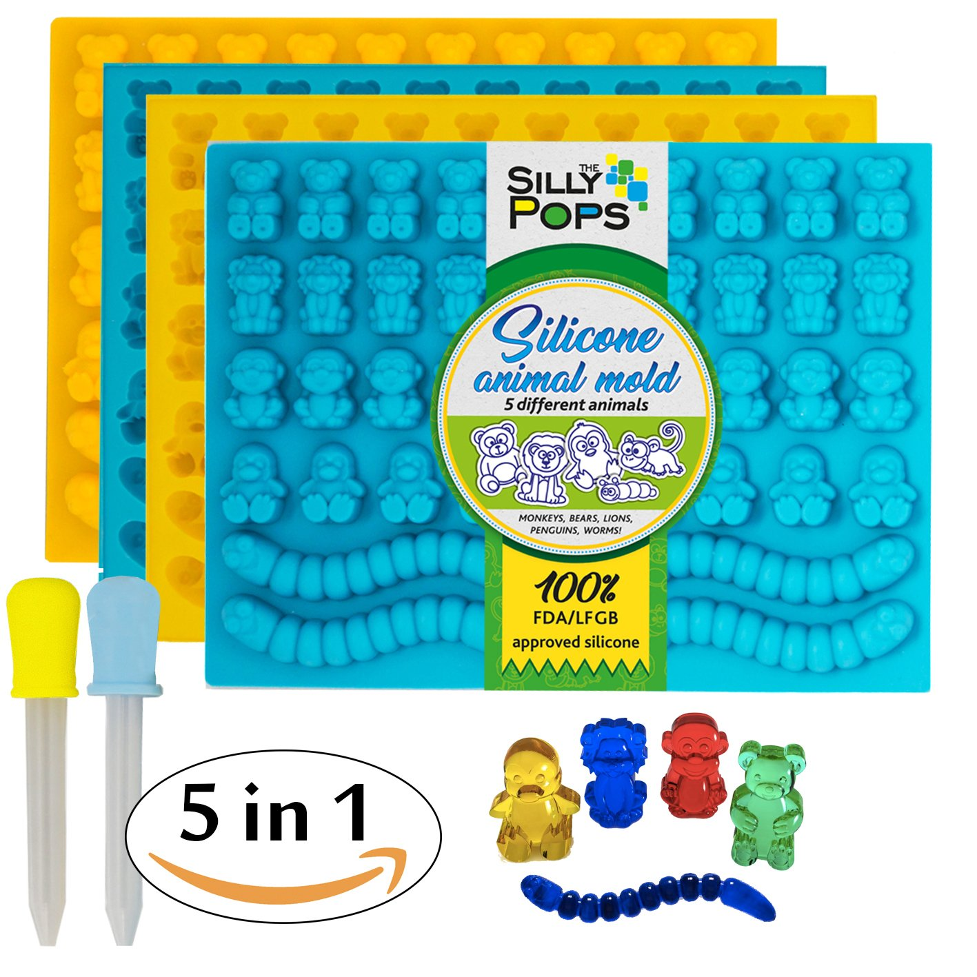 Non-Stick Gummy Bear Mold Bpa Free Silicone (Yellow, Blue) - Set of 4 for 172 Candies - 5 Different Types of Animals – Dropper Included – Candy Molds, Gummy Worm Mold, Gelatin Molds