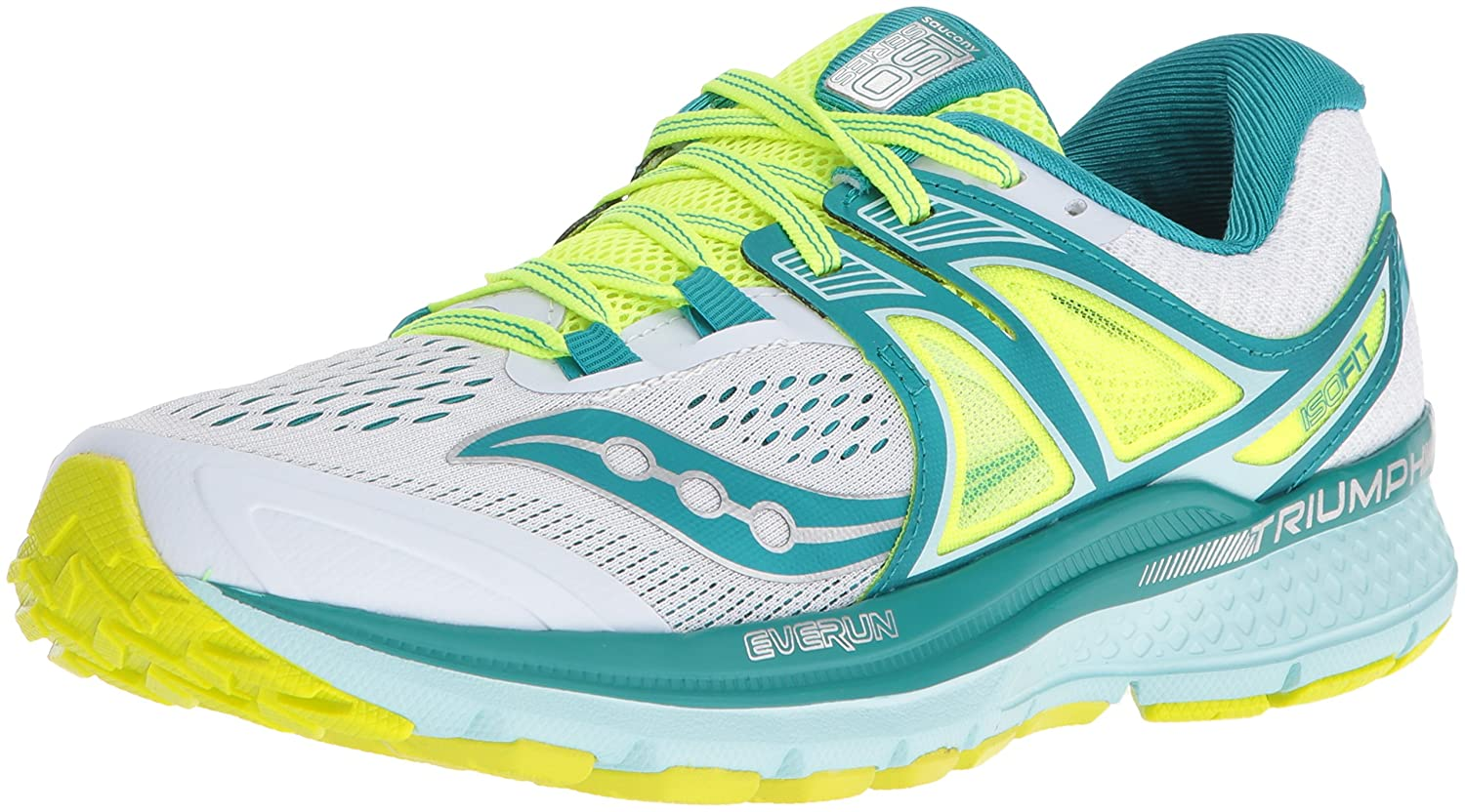 Saucony Women's Triumph Iso 3 Running Sneaker B01GILHRN2 8 B(M) US|White/Teal/Citron