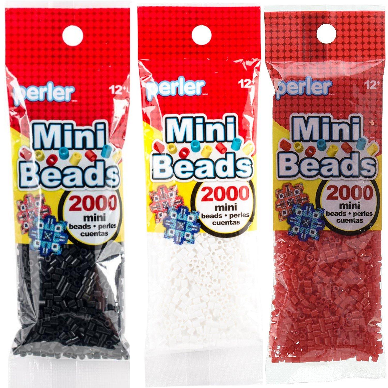 Perler Mini Beads Bundle - Black, White and Red