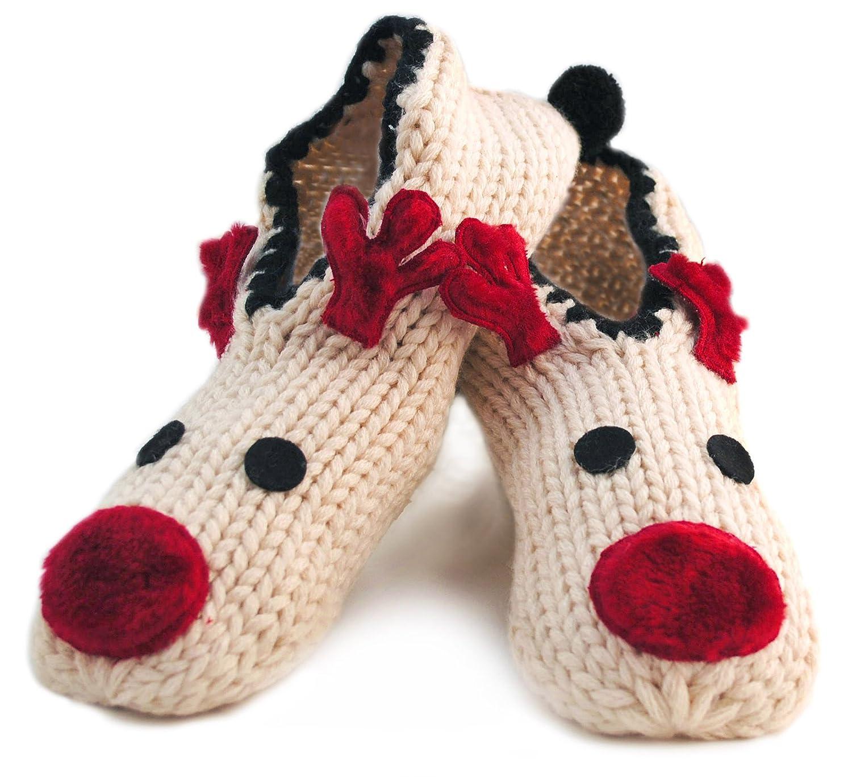 RJM Ladies Chunky Knit Rudolph Reindeer Slipper Socks 1-3 Pairs ...