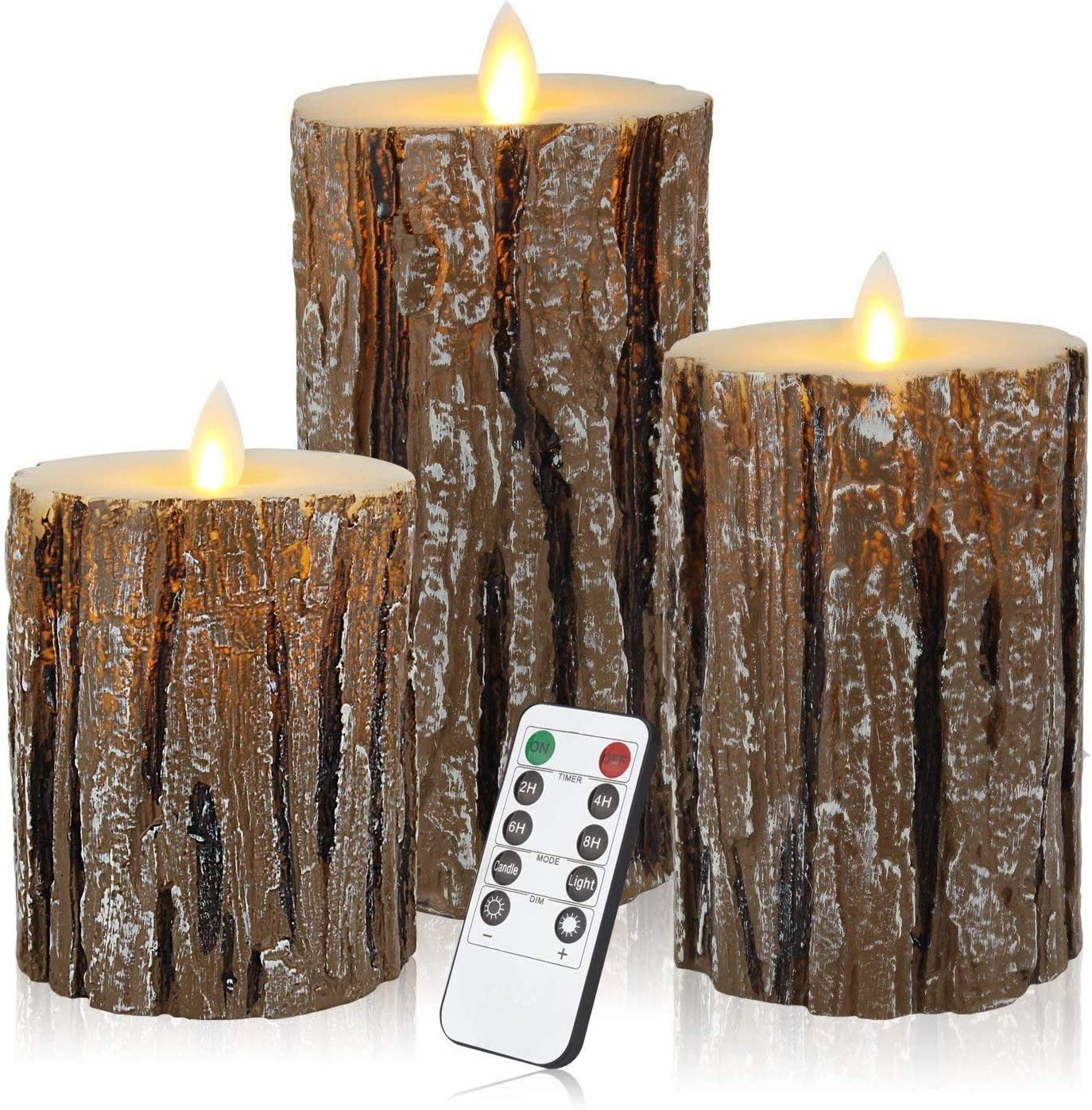 Aku Tonpa Pine Bark Effect Flameless Candles Battery Operated Pillar Real Wax Flickering Electric LED Candle Sets with Remote Control Cycling 24 Hours Timer, 4 5 6 Pack of 3