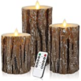 Aku Tonpa Pine Bark Effect Flameless Candles Battery Operated Pillar Real Wax Flickering Electric LED Candle Sets with Remote