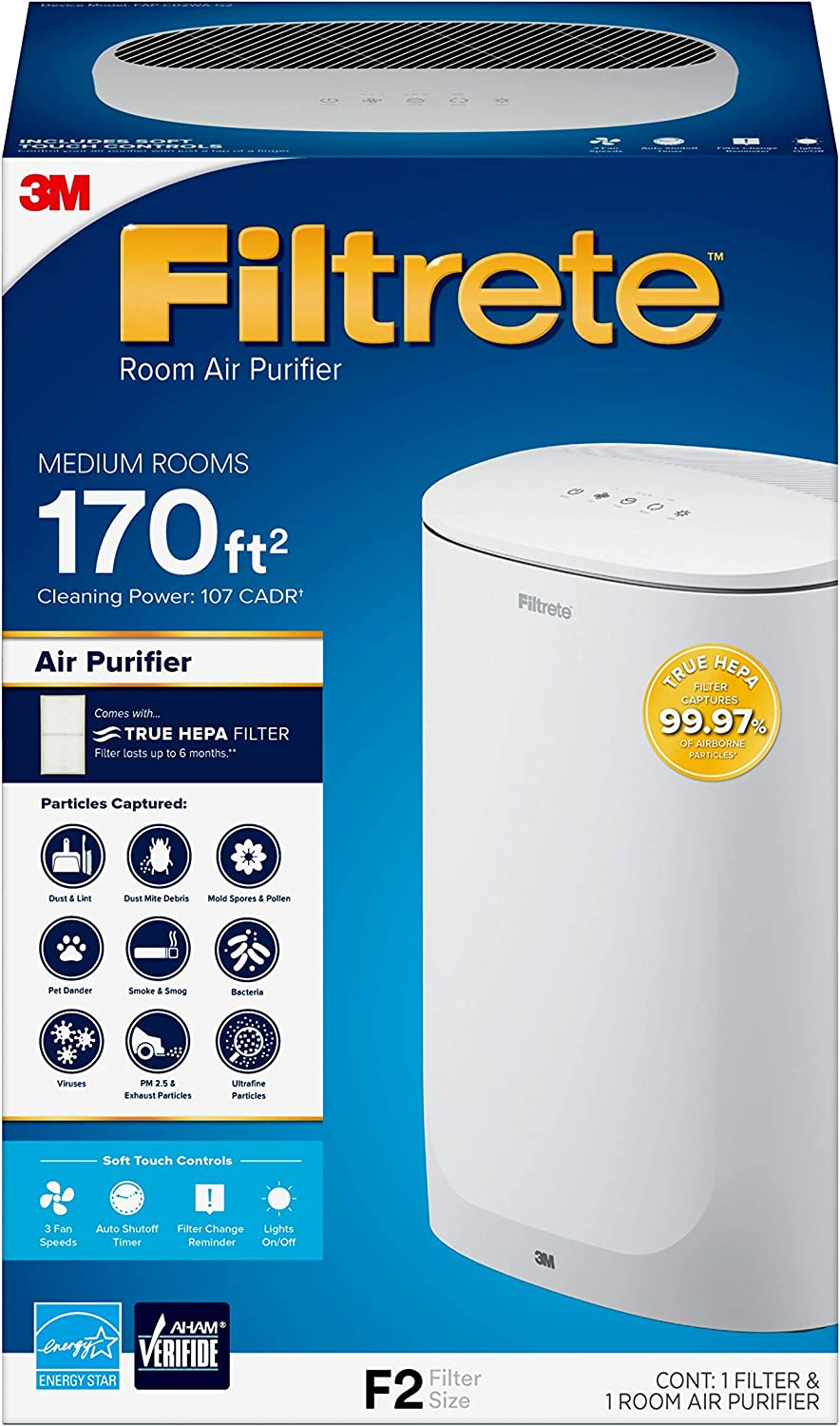Filtrete Medium Room Air Purifier, White