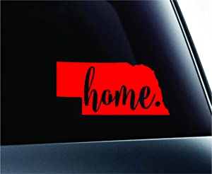 #3 Home Nebraska State Lincoln Symbol Sticker Decal Car Truck Window Computer Laptop (Red)