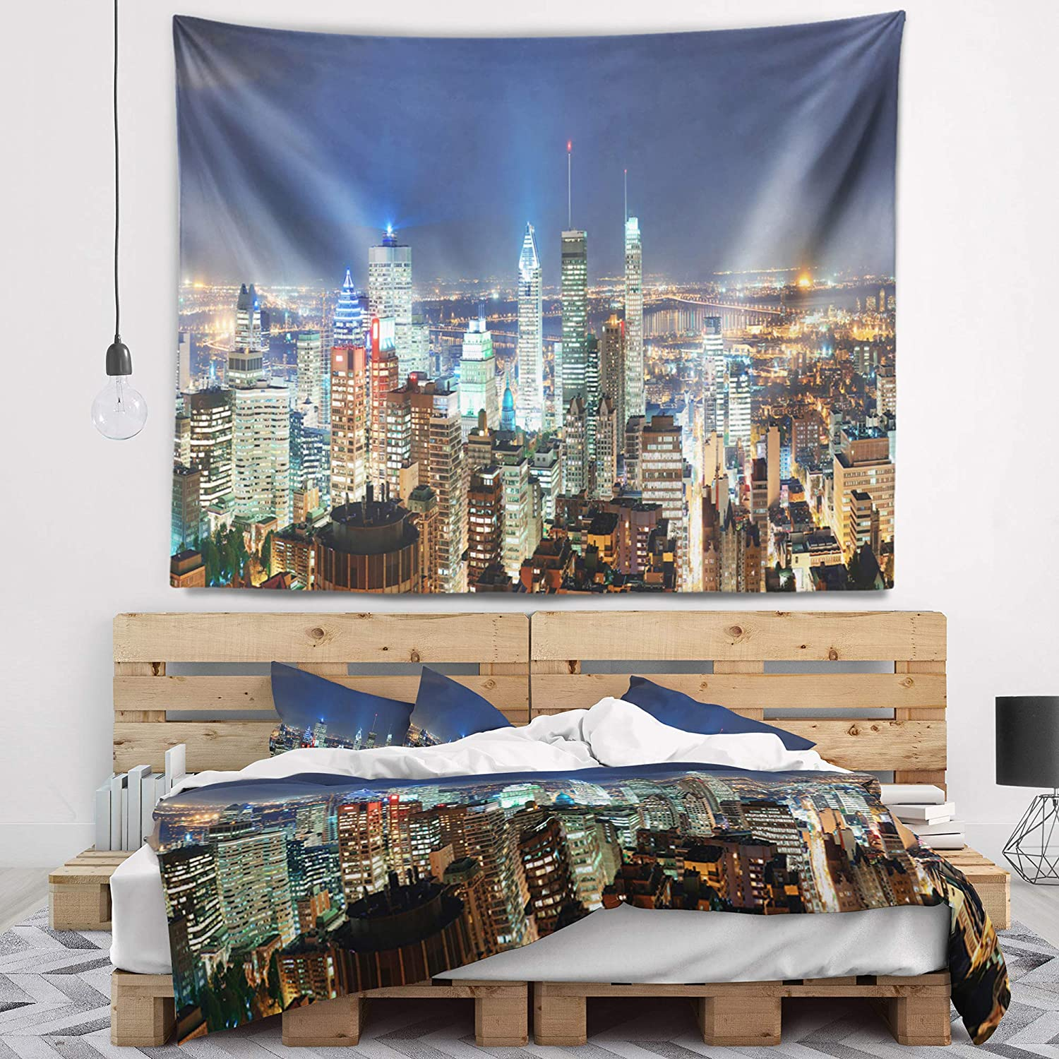 Designart TAP15393-80-68 Montreal at Dusk Panorama Landscape Tapestry Blanket D/écor Wall Art for Home and Office Created on Lightweight Polyester Fabric x Large: 80 in x 68 in