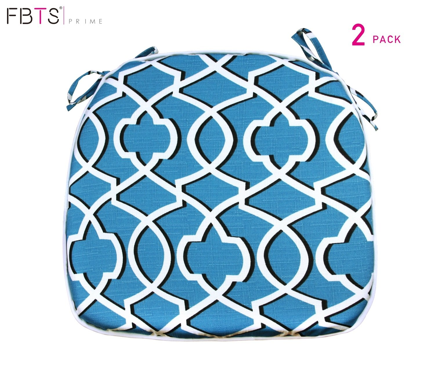 FBTS Prime Outdoor Chair Cushion (Set of 2) 16x17 inches Patio Seat Cushions Blue Square Chair Pads for Outdoor Patio Furniture Garden Home Office