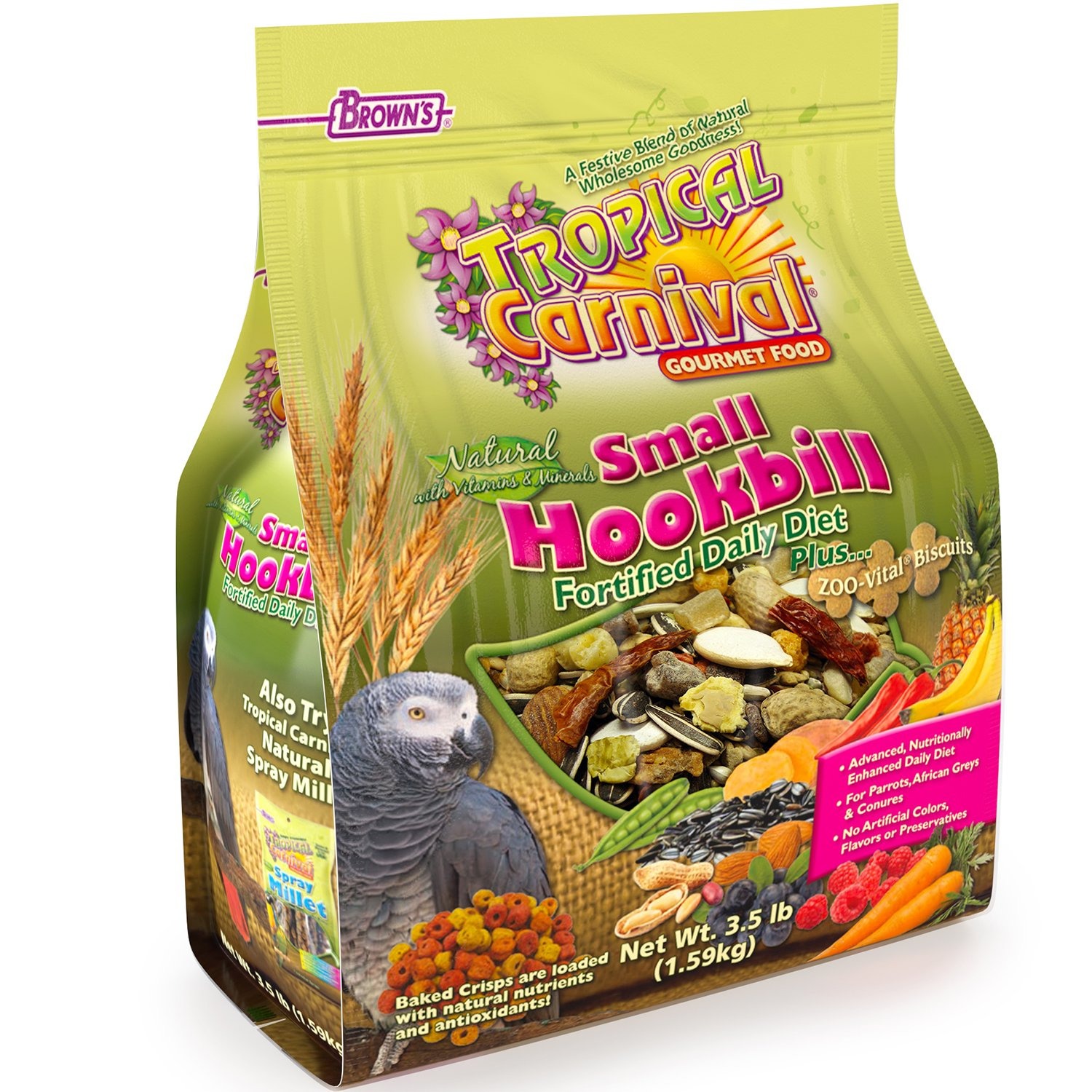 "F.M. Brown'S Tropical Carnival Natural Small Hookbill Food, 3.5-Lb Bag - Vitamin-Nutrient Fortified Daily Diet For Parrots, African Greys And Conures Under 13"", No Artificial Colors Or Flavors"