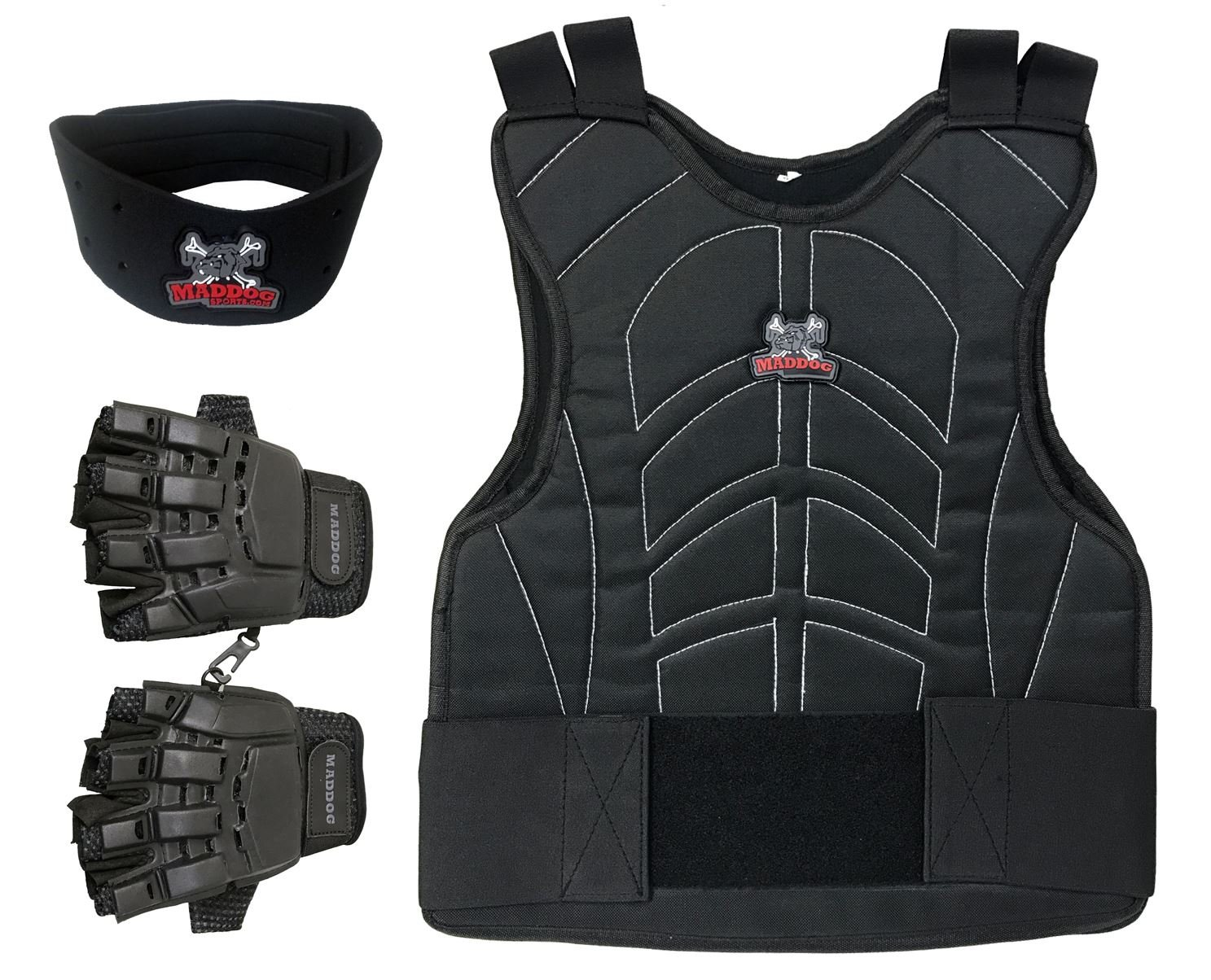 MAddog Padded Chest Protector, Tactical Half Glove, Neck Protector Combo Package - Black - Small/Medium