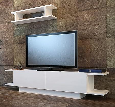 BRIDE Mueble salón comedor para televisión con 2 puerta y estante - Blanco - Mueble bajo para televisor - Mesa de Televisión en diseño elegante: Amazon.es: Hogar
