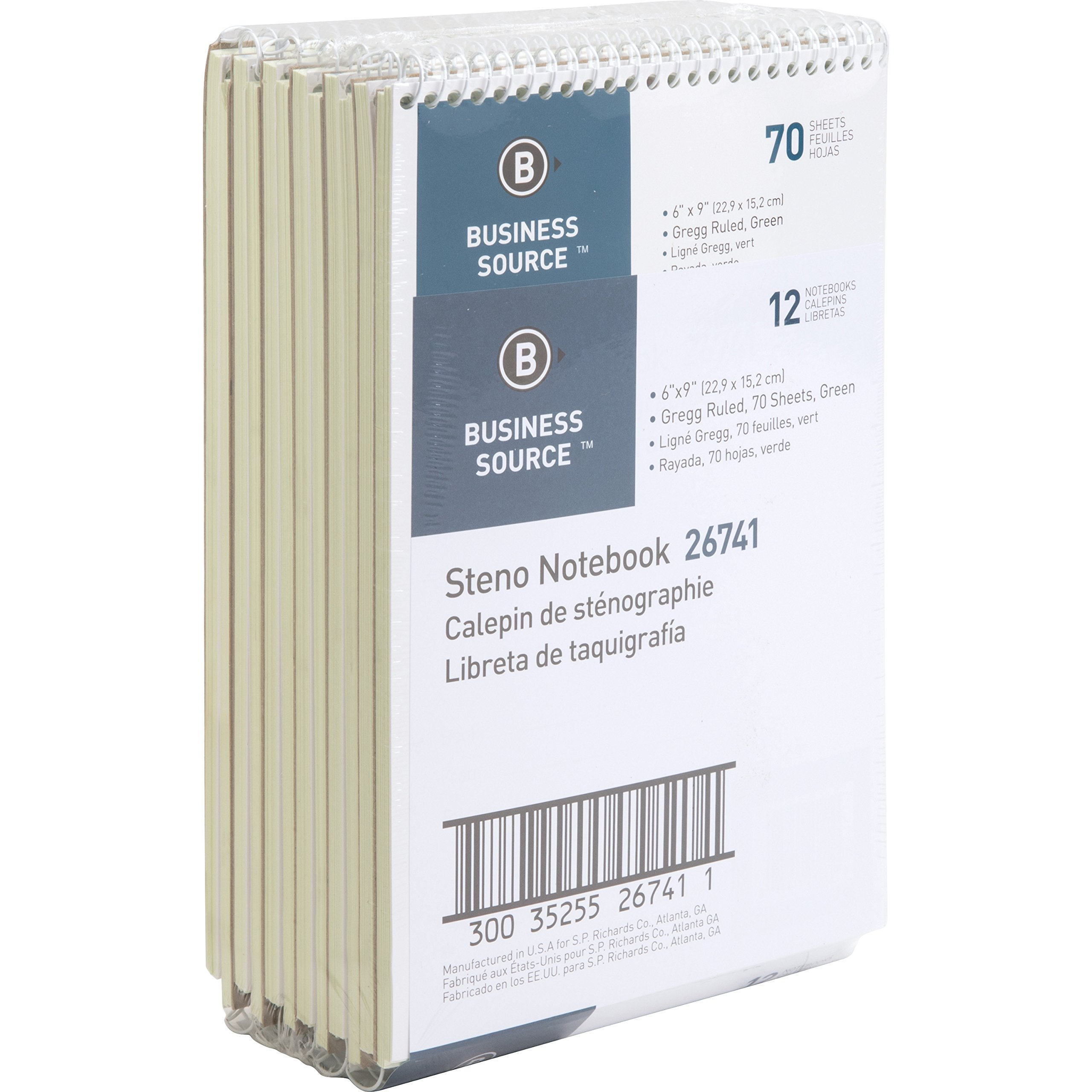 Business Source Wire bound Steno Notebook, 70 Sheets, green (26741PK)
