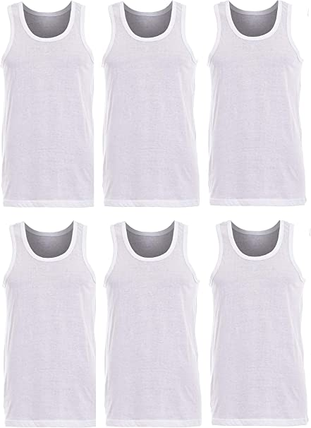 Pack of 6 Mens 100/% Cotton Summer Weight Singlet Vests Underwear//White//Available in Sizes Small//Medium//Large//X Large//XX Large